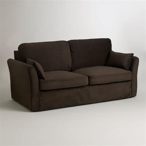 chocolate brown velvet fit luxe sofa slipcover