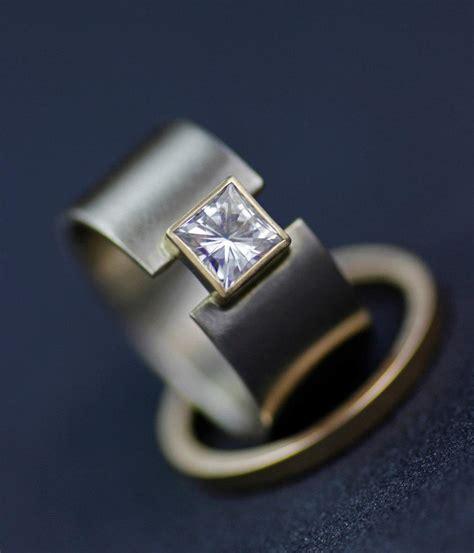 wedding band modern princess moissanite engagement ring