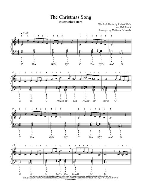 the christmas song by nat king cole piano sheet music intermediate level