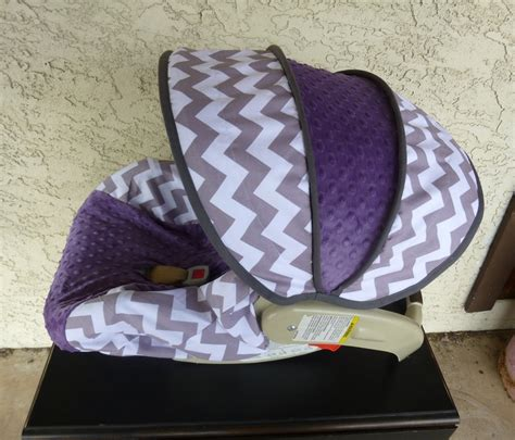 purple and gray stroller and carseat gray chevron with violet infant carseat cover
