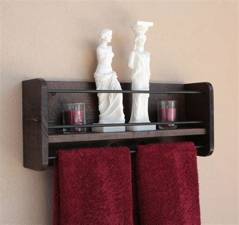 bathroom shelf with towel rack rustic wood wall shelf towel rack bathroom towel shelf
