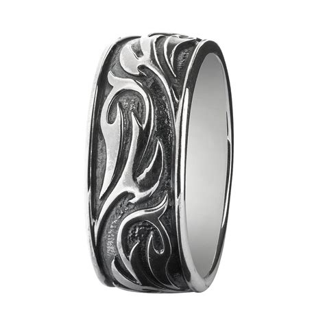 tribal pattern ring silver oxidized rebeligion