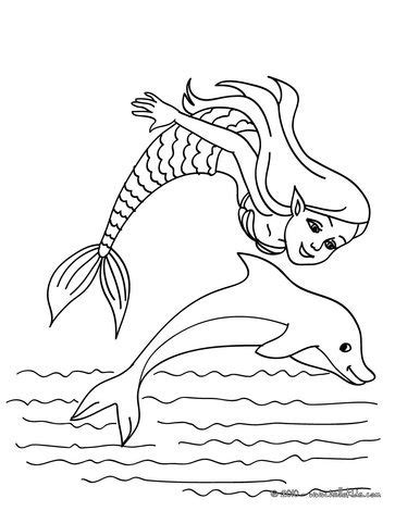 Mermaid with a dolphin coloring page | Let people c.p.