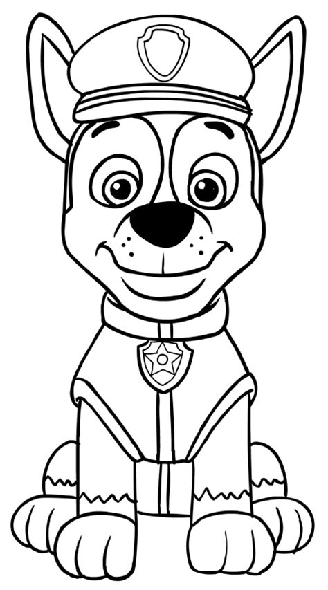 paw patrol printable coloring pages chase chase from paw patrol free colouring pages