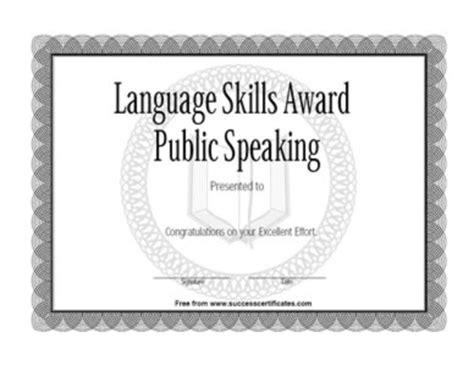 Language Skills Award In Public Speaking   Success