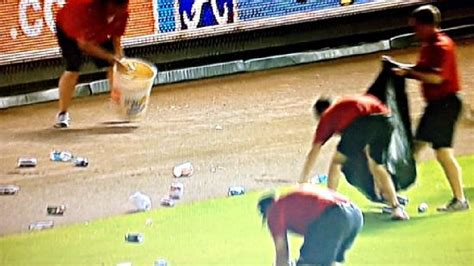 atlanta garbage man thrown in jail after getting to work atlanta braves fans throw bottles cans onto field after