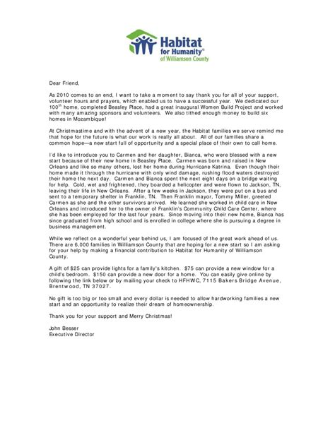 Fundraising End Of Year Letter Habitat For Humanity End Of Year Fundraising Letter By