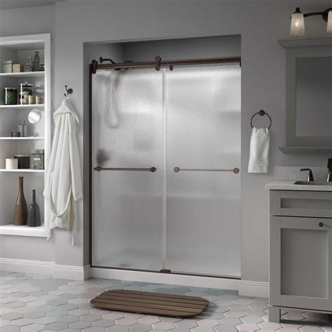 Delta Glass Shower Doors Delta Crestfield 60 In X 71 In Semi Frameless Contemporary Sliding Shower Door In Bronze With