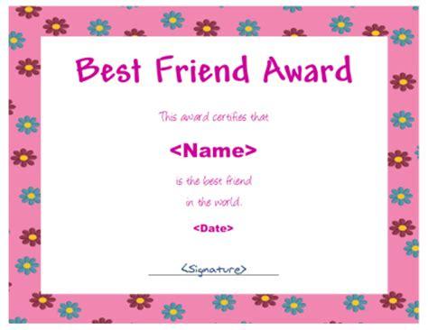 Female Best Friend Certificate