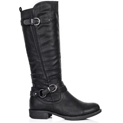 wide calf leather boots buy struck flat wide calf knee high biker boots black