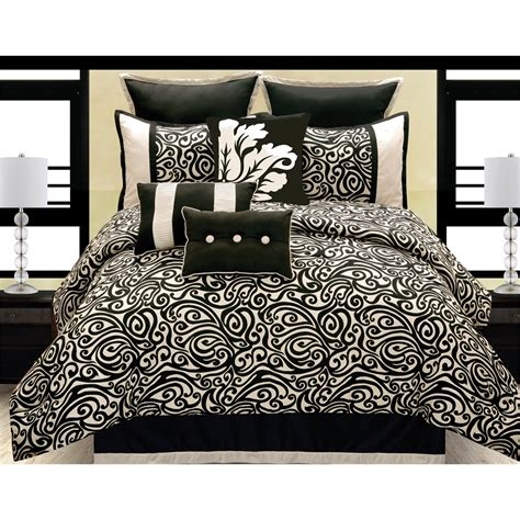 carrington 10 pc king comforter set black ivory