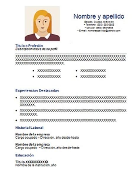 Modelo Curriculum Vitae Basico Para Descargar Curriculum Vitae Basico En Espa 241 Ol Para Descargar Gratis