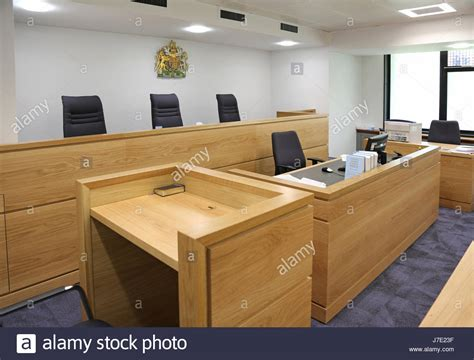 magistrates bench interior of a modern english courtroom shows judges