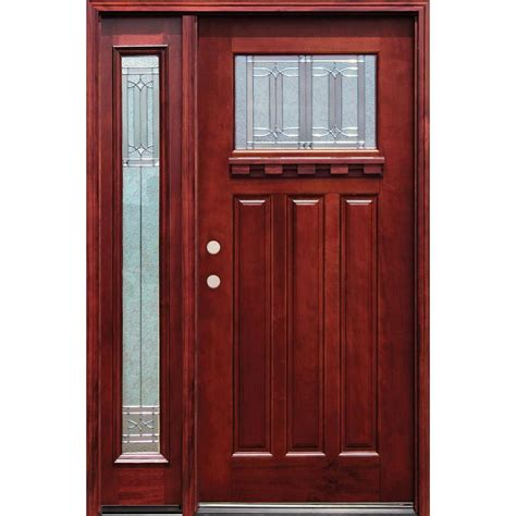 R For Front Door Pacific Entries 54 In X 80 In Diablo Craftsman 1 Lite Stained Mahogany Wood Prehung Front Door