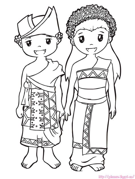 Baju Adat Colouring Pages | how to draw baju