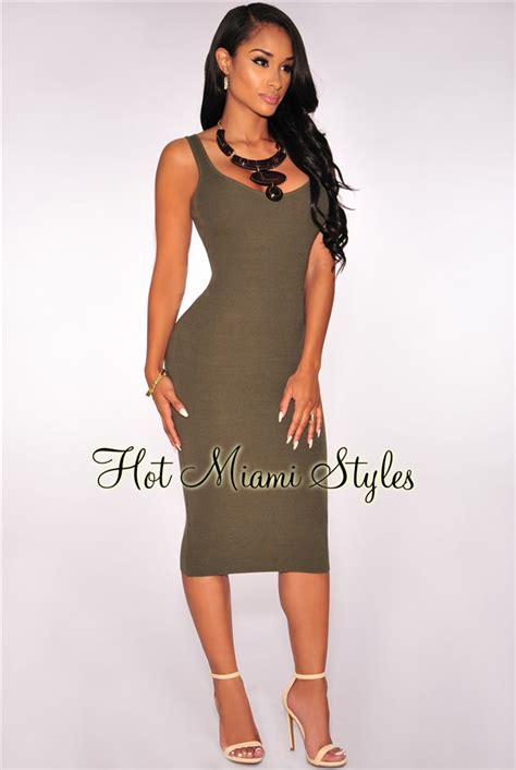 Ribbed Knit Tank Dress olive knit ribbed tank dress