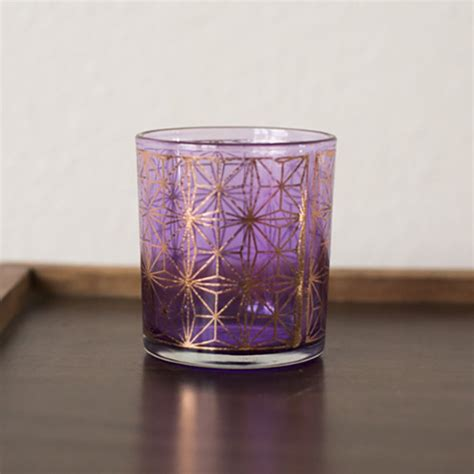Anasa Decorative Glass Tealight Candle Holder Purple Mix Purple Gold Tealight Holders Ae Creative