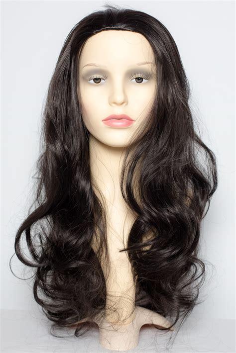 Ho1398 Hair Ekstension Half Brown 22 quot 3 4 wig half fall clip in on hair darkest brown 2 3 styles ebay