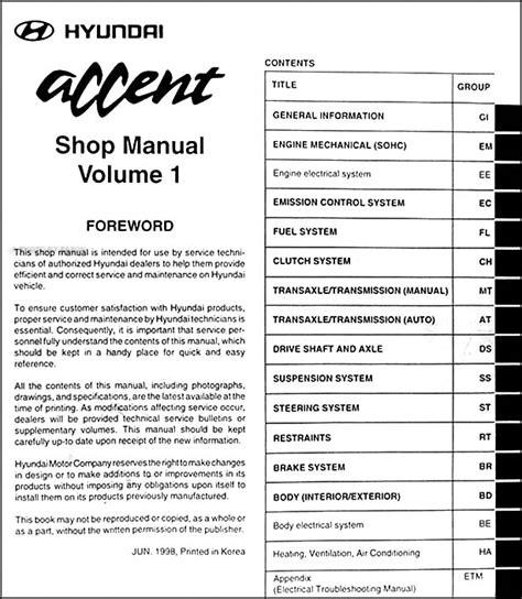 vehicle repair manual 2006 hyundai accent security system 1999 hyundai accent repair shop manual original 2 volume set
