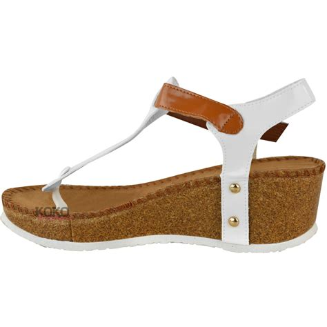 Sandal Wedges Flip Flop Kalp 5cm new womens wedge comfort sandals cushioned flip flops footbed shoes size ebay
