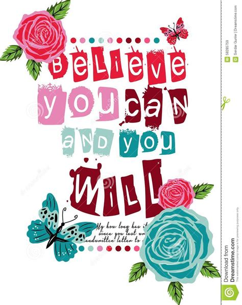 You Can You Will graphic vector design believe you can and you will stock