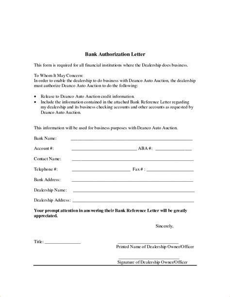 authorization letter to an account 7 bank authorization letter procedure template sle