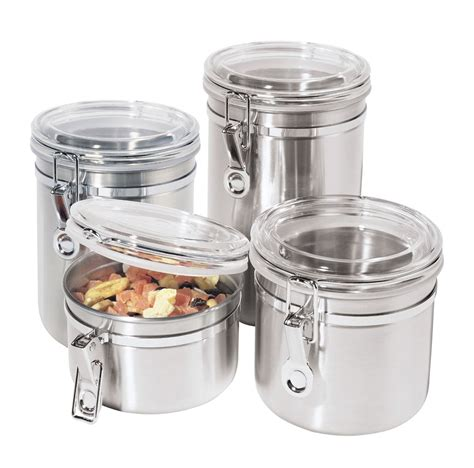 Stainless Steel Kitchen Canisters Sets oggi 4 pc 18 8 stainless steel canister set shop your