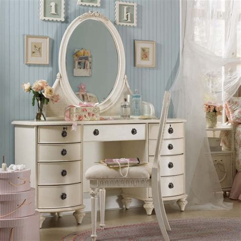 wood metal antique bedroom vanity with mirror on pink area