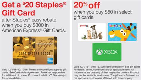 Staples Gift Card Rebate - staples amex gift card rebate 20 off select merchant cards frequent miler