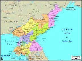 North Korea On World Map by North Korea Political Wall Map Maps Com