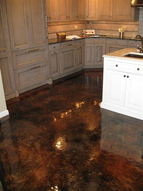 wood kitchen cabinets stained concrete floors acid trends