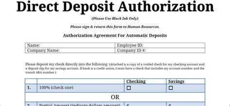 direct deposit forms for employees template direct deposit forms for employees template printable pdf