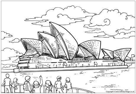 coloring page of sydney opera house outback australian animals coloring pages coloring pages