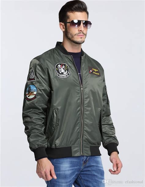 mens official top gun bomber jacket 80s army fancy dress costume s patches top gun army green letterman air windbreak jacket pilot bomber
