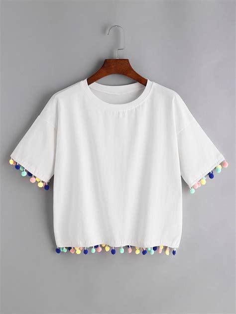 pomeranian shirt white drop shoulder pom pom t shirtfor romwe