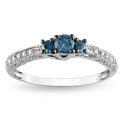 sapphire and beautiful engagement ring in white