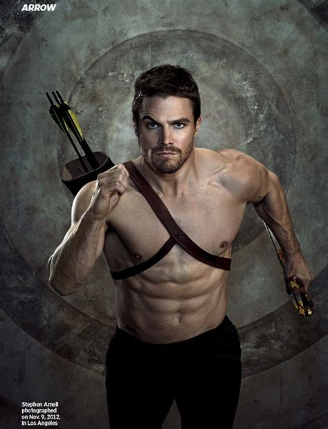oliver queen s chest tattoo image shirtless oliver running with arrows strapped to