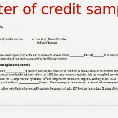 Financial Letter Of Credit Definition Format Of Letter Of Credit Gallery Letter Sles Format