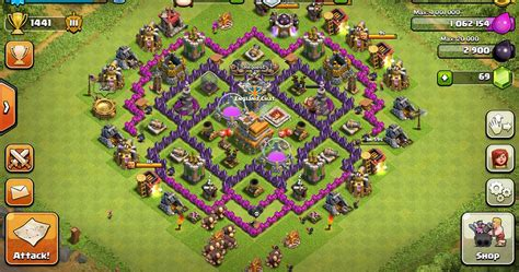 coc effective layout level 7 defensive base clash of clans pinterest