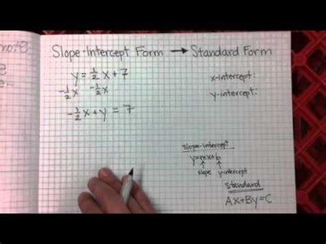 slope intercept to standard form