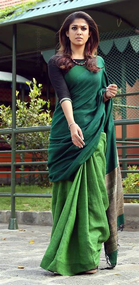 how to drape a cotton saree perfectly nayanthara wearing a beautiful woven saree in shades of