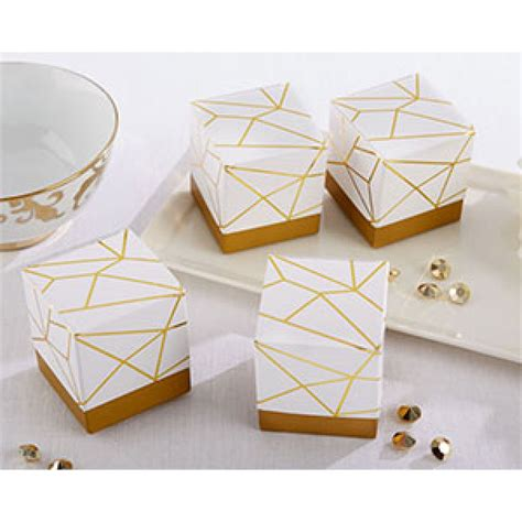 geometric pattern box kate aspen white and gold geometric favor bella bridal