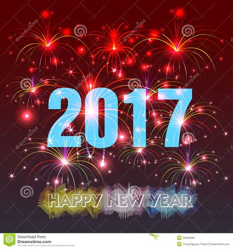 new year illustration happy new year 2017 with fireworks background stock vector
