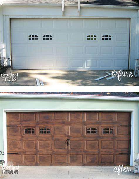 Garage Door Keeps Coming Back Up Faux Wood Garage Door Tutorial Prodigal Pieces