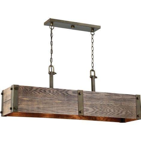 pille pour lustre luminaire suspendu rectangle en bois et bronze royaume