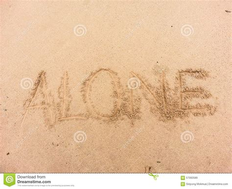 Written On alone written on sand by sea stock photo image 57092589
