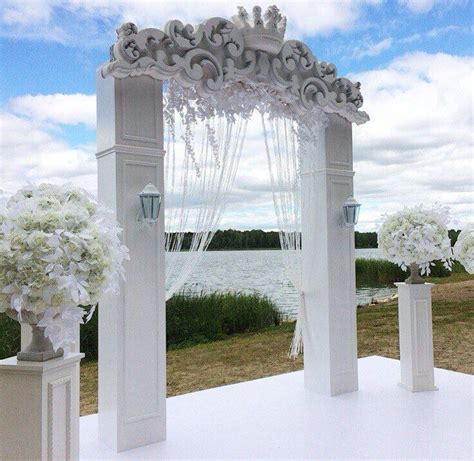 Wedding Arch Curtains by All White Wedding Altar White Colum Arch With Bead