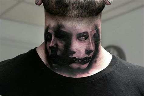 scary faces neck tattoo best tattoo design ideas