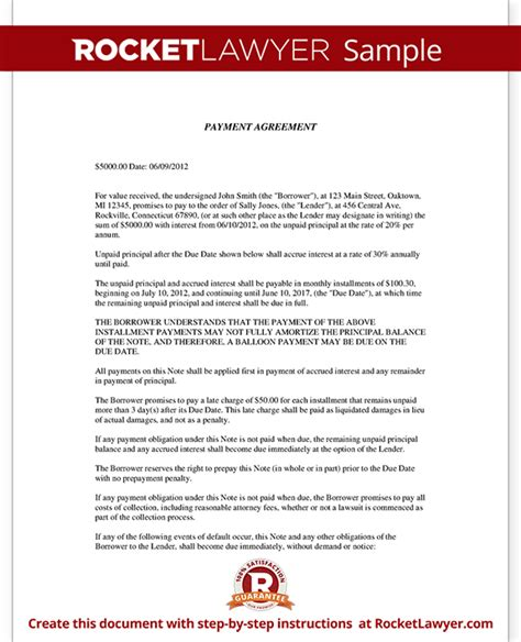 Payment Agreement Letter Format Installment Agreement Payment Agreement Contract Letter Template