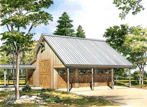 Rustic Garage Plans by Rustic 3 Car Garage Plan With Shop 46061hc Cad